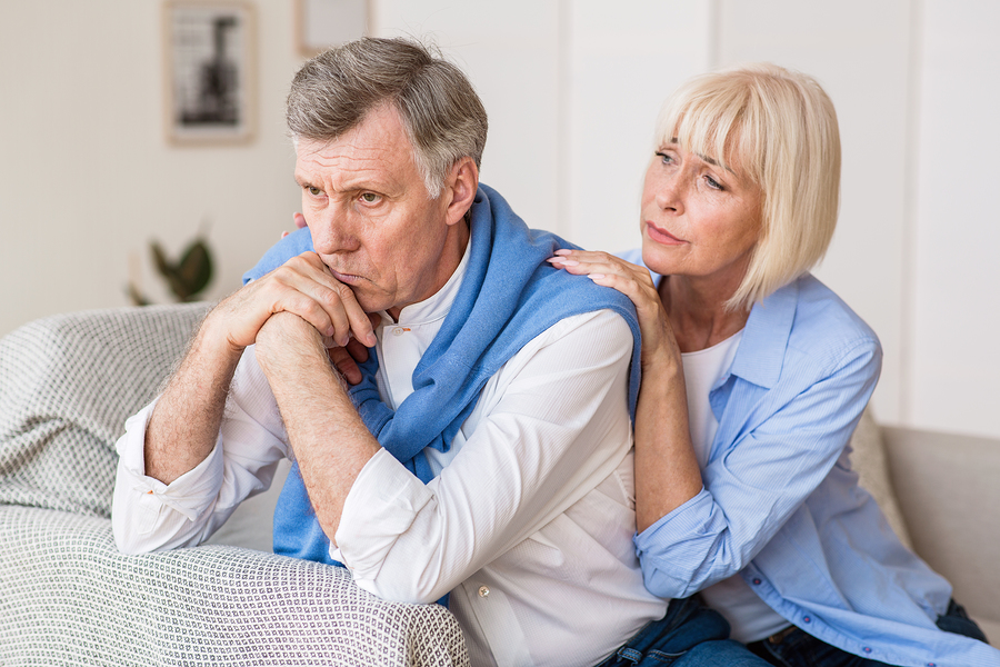 mature woman worried about her husband